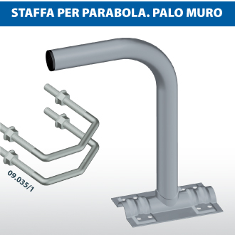 Staffa per parabola palo-muro
