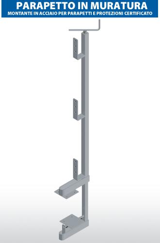 Montante in acciaio per parapetti e protezione certificato